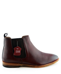 Portway burgundy leather ankle boots