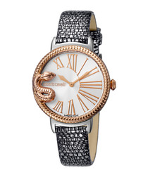 Silver-tone leather serpent watch