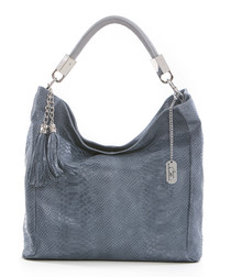 Blue leather moc-croc slouch bag