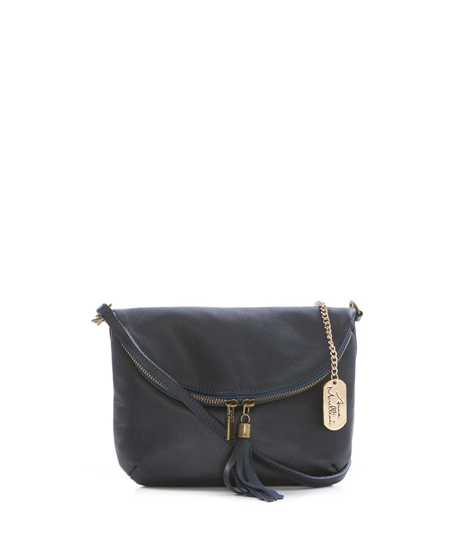 Navy leather tassel crossbody Sale - anna morellini