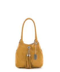Tan leather tassel front shoulder bag
