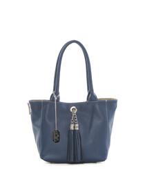Navy leather tassel front shoulder bag