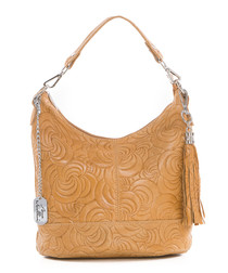 Tan leather swirl shoulder bag