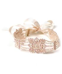 Kiera Lace ivory glass bead choker