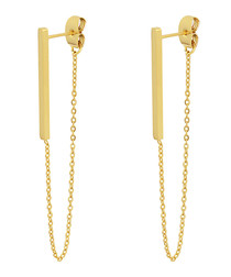 18ct gold-plated drop chain earrings
