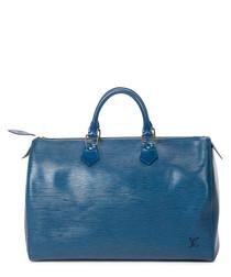 Speedy 30 navy blue leather grab bag