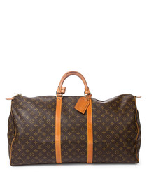 Keepall 60 brown canvas holdall