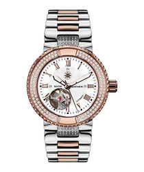 Reveuse silver & rose gold-tone watch