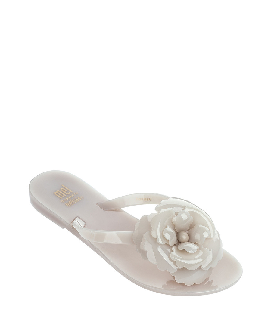 Girl's Harmonic Flower 17 pale pink flip flops Sale - mini melissa