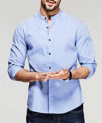 Blue pure cotton long sleeve shirt