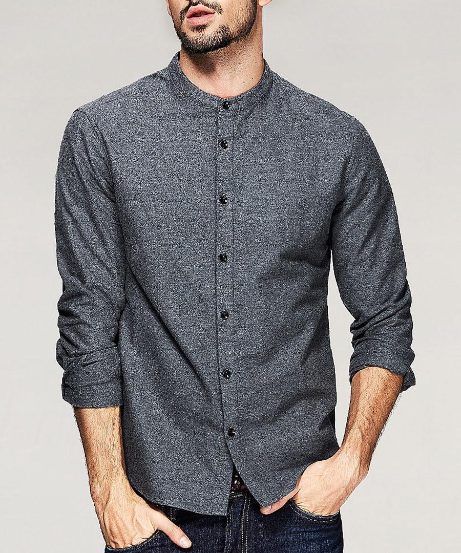 Dark grey pure cotton long sleeve shirt Sale - kuegou