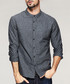 Dark grey pure cotton long sleeve shirt Sale - kuegou Sale