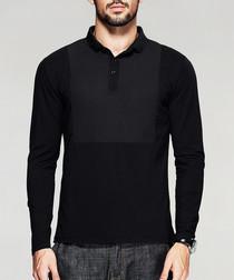 Black cotton blend bib polo shirt