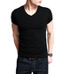 Black cotton blend V-neck T-shirt  Sale - kuegou Sale