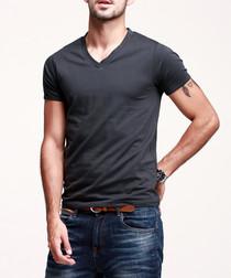 Charcoal cotton blend V-neck T-shirt