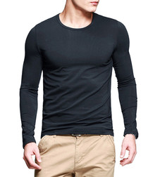 Charcoal cotton blend long sleeve top