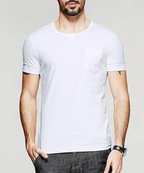 White cotton blend pocket T-shirt