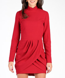 Bordeaux long sleeve high neck dress