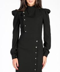 Black puffed sleeve midi dress
