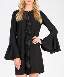 Black ruffle detail mini dress