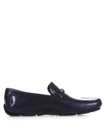 Men's Horsebit dark blue leather loafers