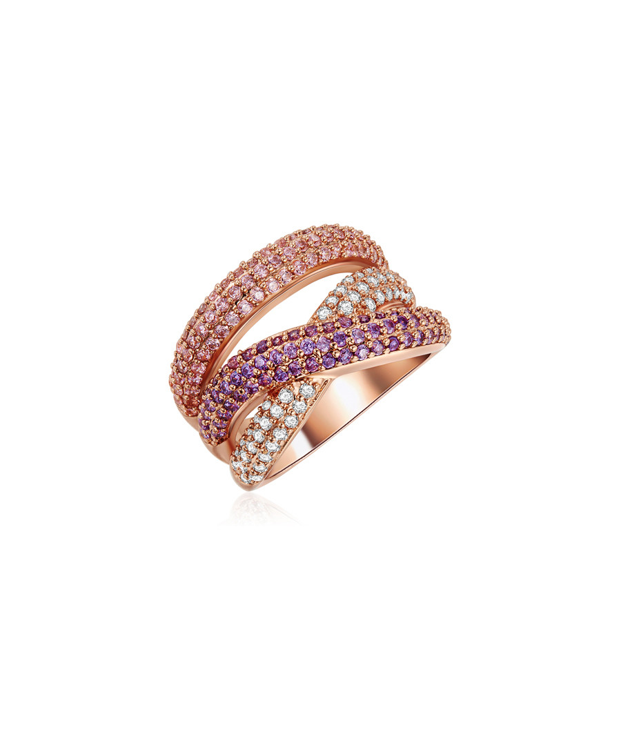 Rose gold-plated multi-colour wrap ring Sale - tassioni