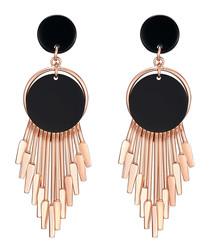 Rose gold-plated & black drop earrings