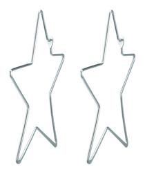 Silver-tone star hoop earrings