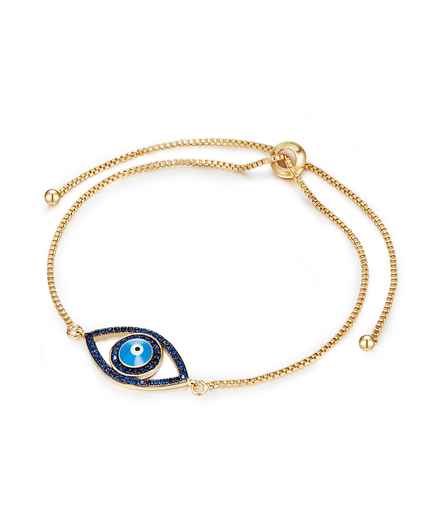 Yellow gold-plated & blue eye bracelet Sale - tassioni