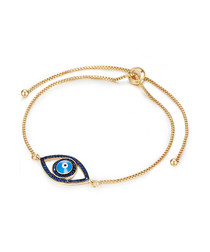 Yellow gold-plated & blue eye bracelet