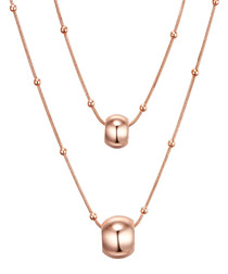 Rose gold-plated double layered necklace