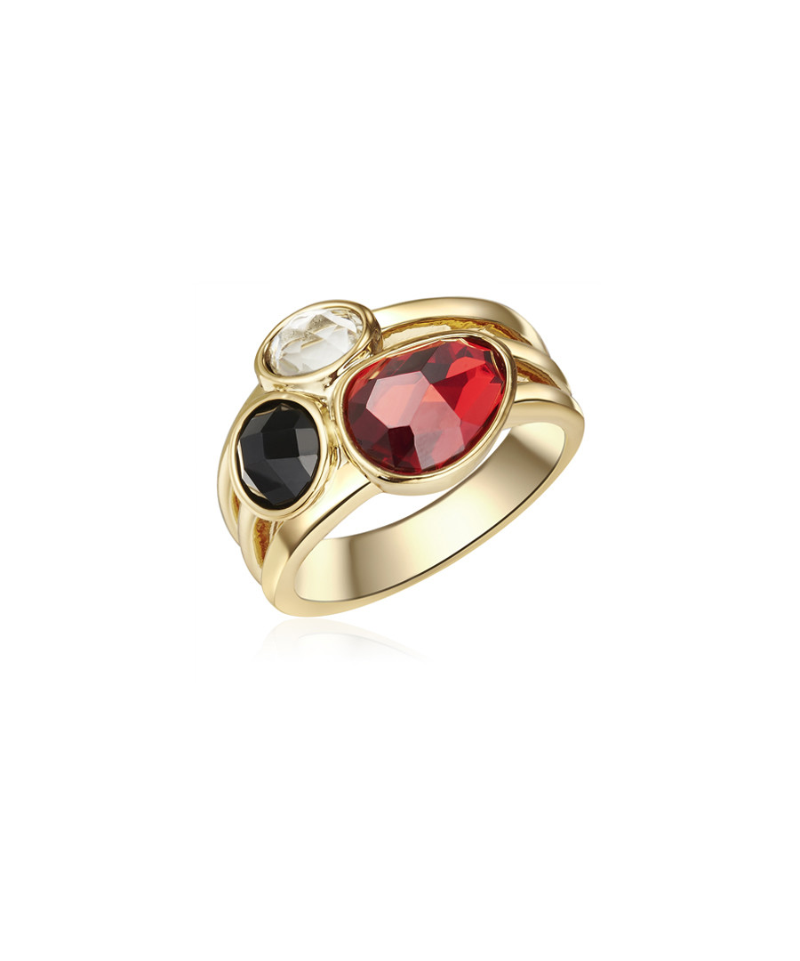 Yellow gold-plated tri-colour ring Sale - tassioni