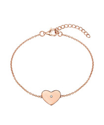 Rose gold-plated heart charm bracelet