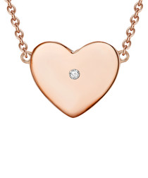 Rose gold-plated diamond heart necklace