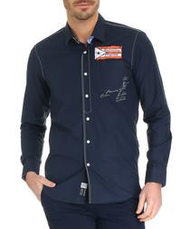 Dark navy pure cotton logo print shirt