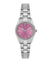 Eva silver-tone & pink steel watch