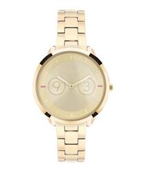 Metropolis gold-tone steel watch