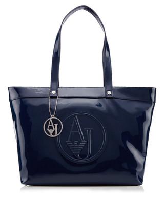 Armani Jeans. Deep blue logo embossed shopper bag bb9aac39b41bf