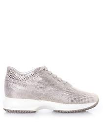 Women's silver suede wedge sneakers