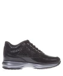 Black suede snake-effect sneakers