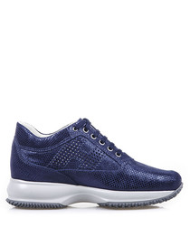 Blue suede snake-effect sneakers