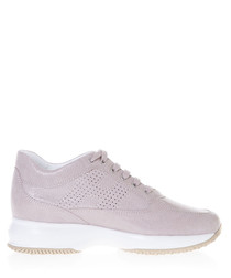 Women's pink suede snake-effect sneakers