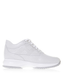 White suede snake-effect sneakers
