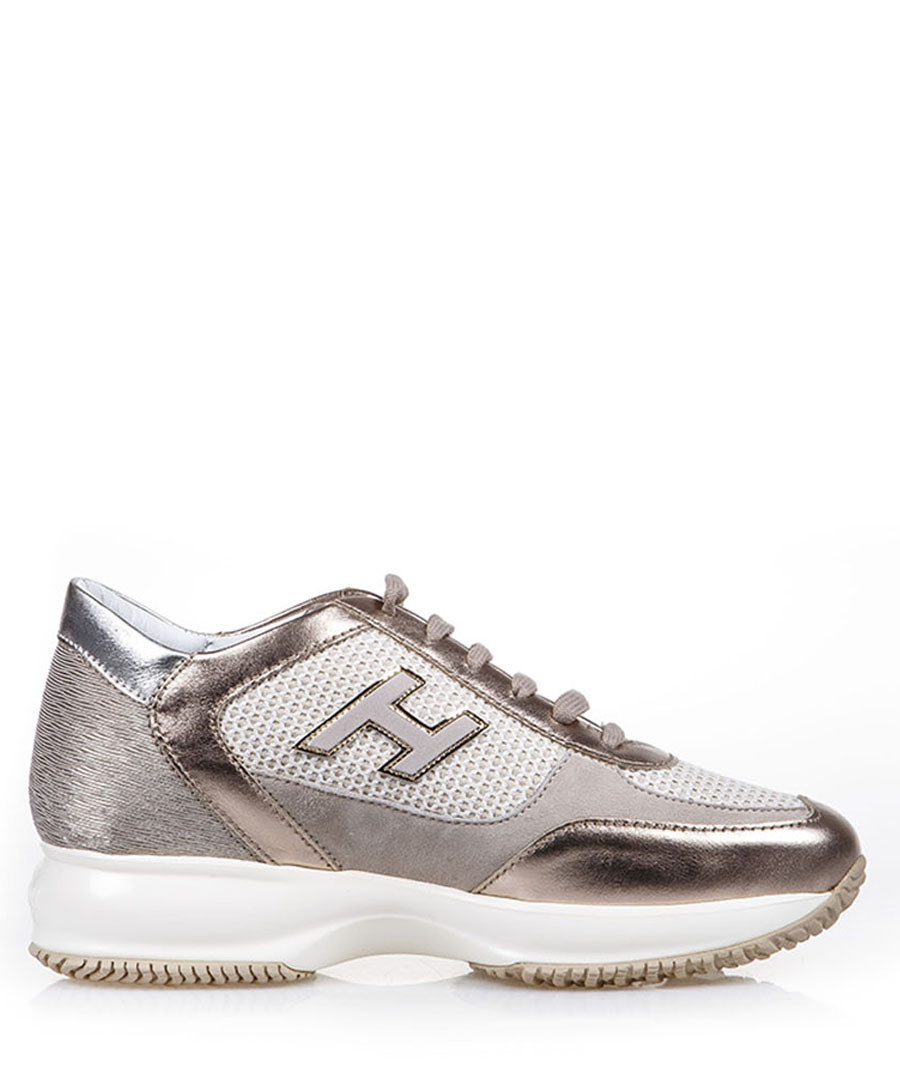 Women's beige suede multi-tone sneakers Sale - hogan