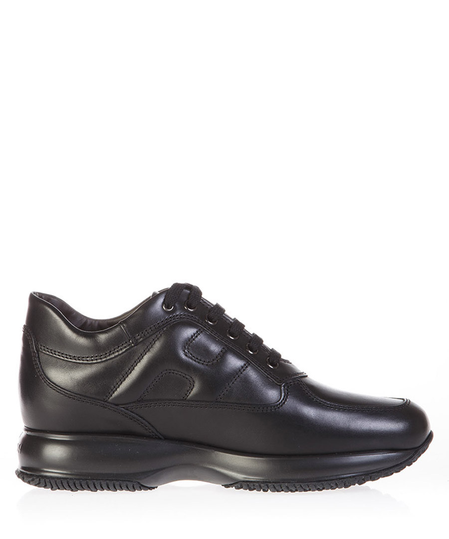 Women's black leather lace-up sneakers Sale - hogan
