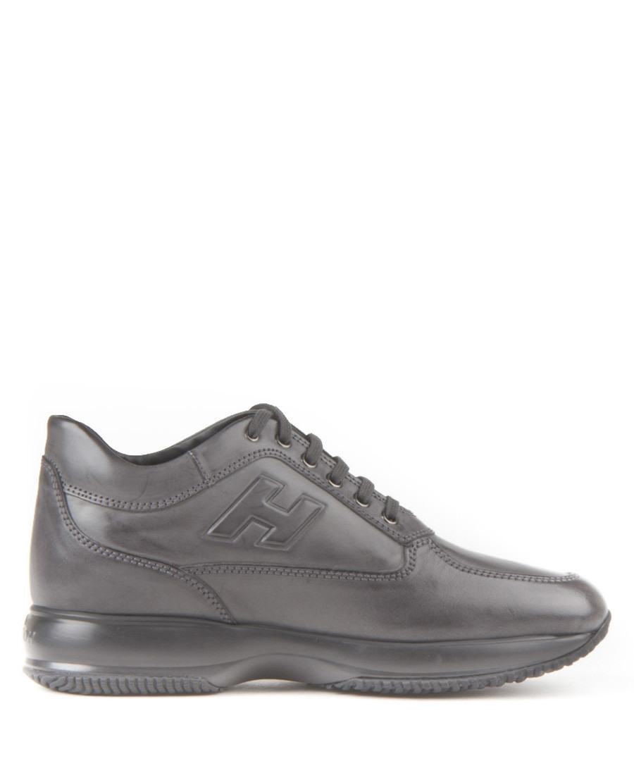 Men's Grey leather lace-up sneakers Sale - hogan