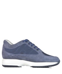 Jeans blue suede two-tone sneakers