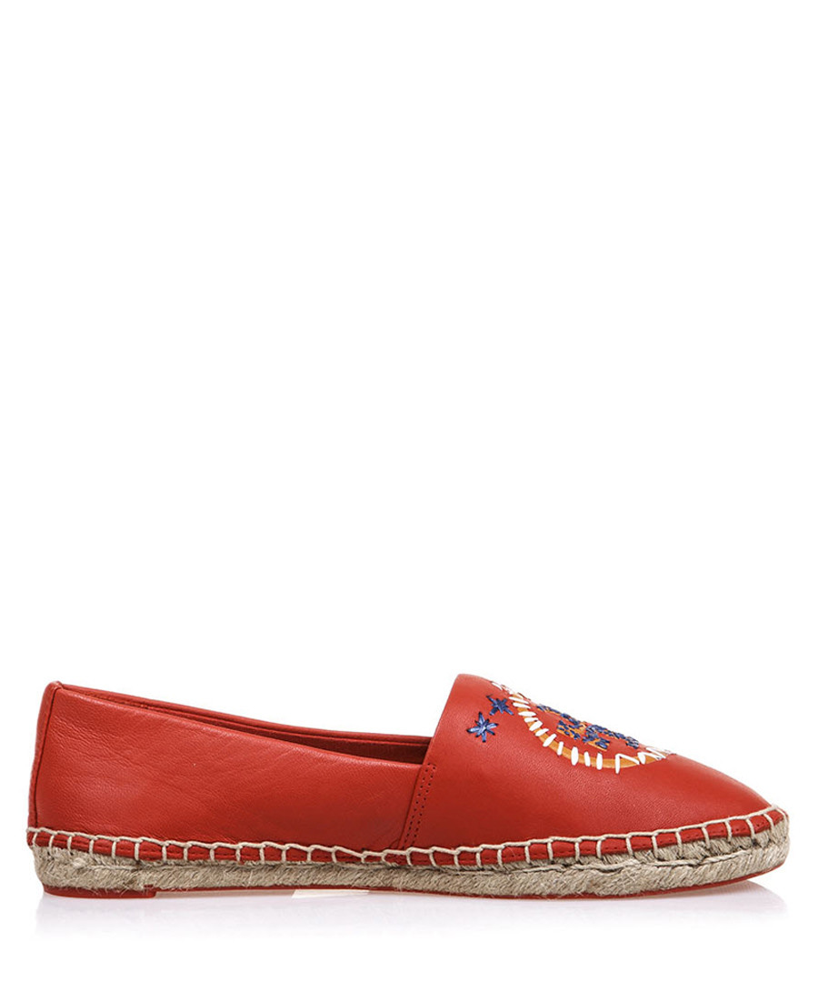 Daley red leather espadrilles Sale - tory burch