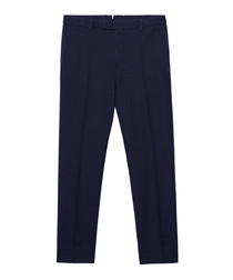 Evening blue pure cotton trousers