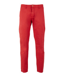 Red cotton blend sun bleached chinos
